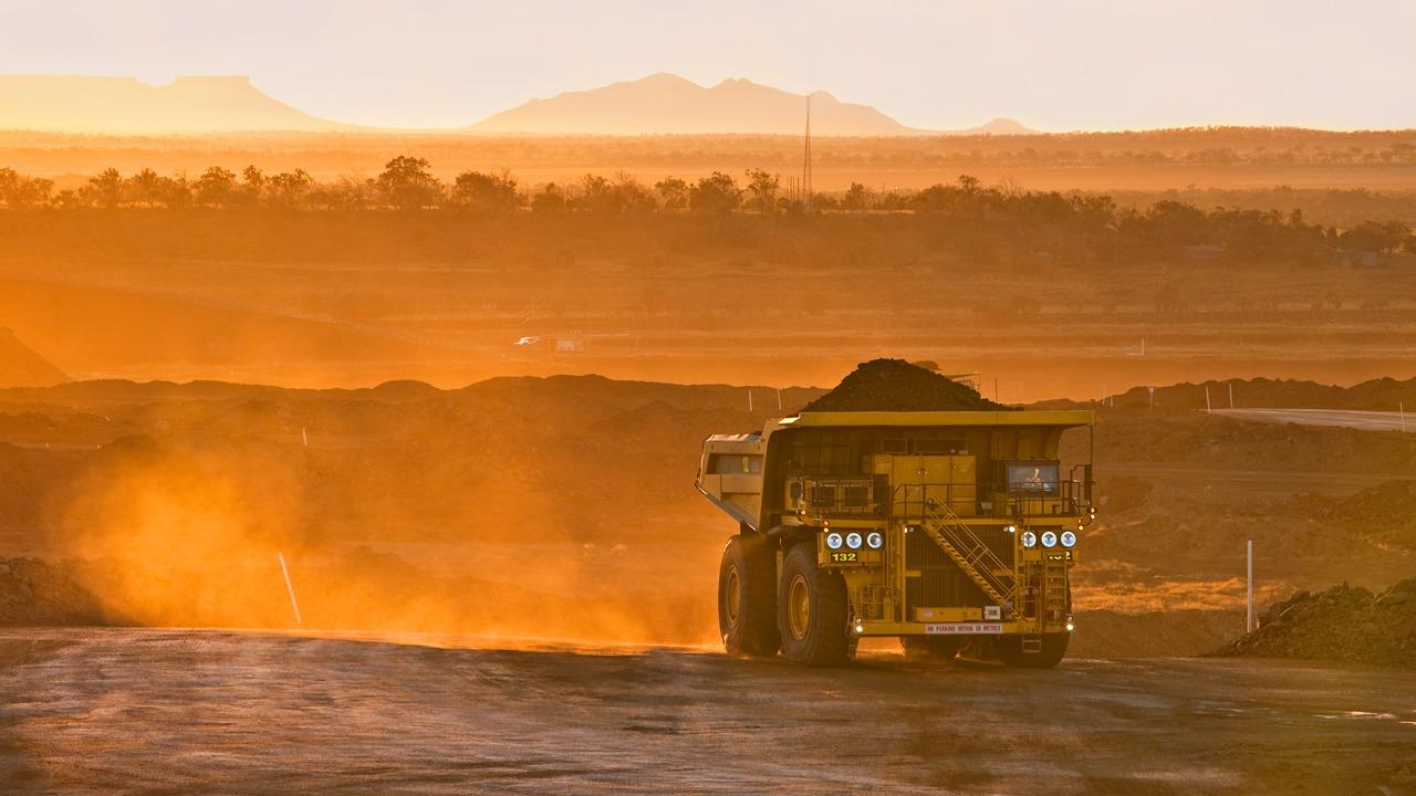 Coal truck at sunrise